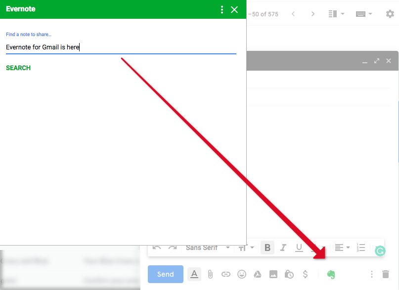 Evernote for Gmail header
